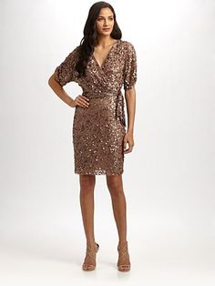 Aidan Mattox - Sequined Wrap Dress - Saks.com