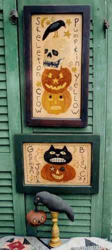 Primitive Folk Art Halloween Wool Applique Stitchery Penny Rug Hooking Pattern | eBay