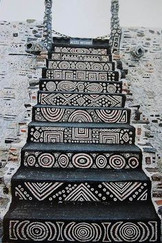 mud cloth inspired stairs