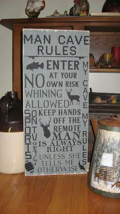 You Pick Color  Man Cave Rules Man Cave Decor by CottageSignShoppe