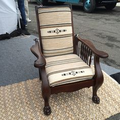 A Morris chair totally rehabbed by one of our #FleaMarketFlip teams. #stunning #FleaMarketFabulous