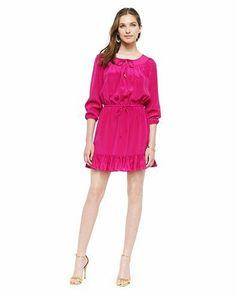 Trapunto Stitched Silk Dress