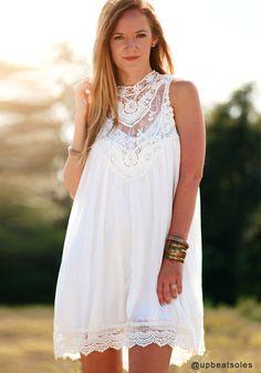 White Lace Chiffon Mini Dress
