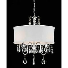 @Overstock - Add a touch of elegance to your home decor with this beautiful three-light chandelier. This light fixture features a shade fabric and stunning, dangling crystal accents.http://www.overstock.com/Home-Garden/Crystal-Chrome-3-light-Chandelier/4268146/product.html?CID=214117 $135.99