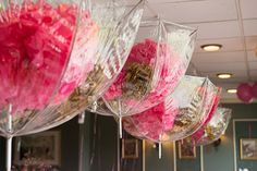 """clear umbrellas filled with pink and gold """"cloud"""" poms for bridal shower Clouds, Shower Bring, Shower Decorations, Idea, June Flower, Clear Umbrella, May Flowers, April Showers, Bridal Showers"""