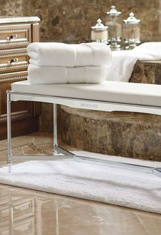 Our Belmont Vanity Bench adds modern elegance to the bath.