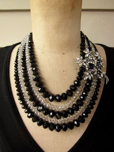 Glamorous and classy! Vintage Necklace Crystal Necklace Rhinestone by rebecca3030.etsy.com