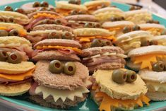 Monster party sandwiches for Halloween. Brilliant!