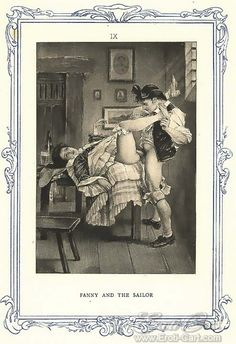 Fanny and the Sailor : Erotic illustration by Édouard-Henri Avril (better known as Paul Avril) for John Cleland's erotic novel Fanny Hill printed in 1908.  Illustrations reproduced in the book using photogravure.  1908