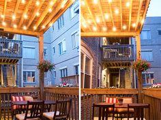 string lights on porch