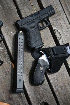 Glock 19, 33 round mag, Rossi .357
