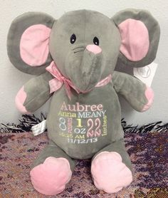 Monogrammed Baby Gift Personalized Elephant by WorldClassEmbroidery