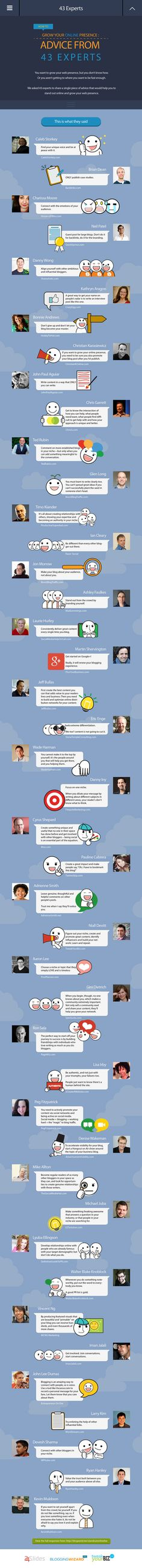 How To Grow Your Online Presence: Advice From 43 Experts [INFOGRAPHIC]