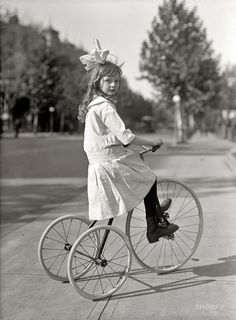 Helen Marye on a tricycle. Washington, D.C. 1915. Future socialite Helen was daughter of George Marye, ambassador to Russia.
