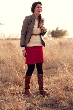 Fall perfection fall outfits skirts, color mix, modest shorts outfits, fall layered outfits, knit sweaters, long skirts, modest skirts outfits, brown boots, red sweater outfit