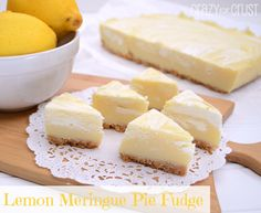 Lemon Meringue Pie Fudge by www.crazyforcrust.com   A tart lemon fudge with a lemon shortbread crust topped with a marshmallow fudge swirl!