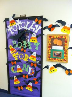 preschool door. daycare. toddler crafts. toddler projects. arts. halloween. fall. totally batty for candy