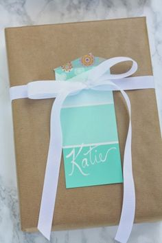 Paint Chip Gift Tags with coordinating washi tape.