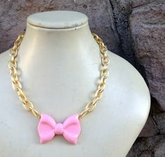 Pink Bow Necklace on Gold Cable Chain  by CombustionGlassworks, Lolita Kawaii Jewelry  $42.50