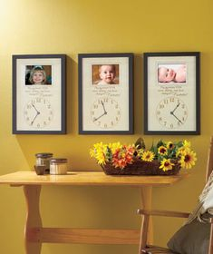 cute idea with kids birth times & pictures