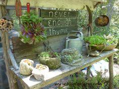 garden work, rustic charm, pot bench, potting benches, work bench