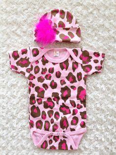 Baby Gift Set  Animal Print  Baby Onesie Hat and by honeydewmoon, $17.00