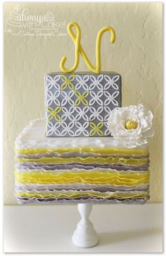 Beautiful Cake Pictures: Grey & Yellow Quatrefoil Monogrammed Cake: Birthday Cakes, Colorful Cakes, Wedding Cakes
