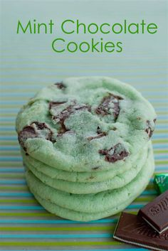 Mint Chocolate Chip Cookies...with a cup of steaming coffee...DIVINE!