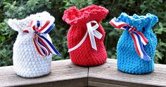 Free pattern - Red White & Blue Party Bags