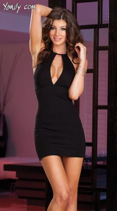 Sexy, cut out mini dress with front keyhole, strappy back detail with zipper and matching thong. Sale Price:    $49.95