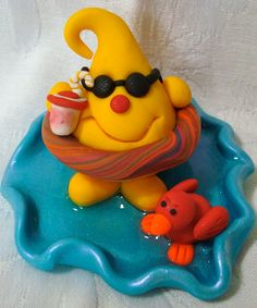 SWIMMING POOL Summer Time PARKER - Polymer Clay Character - Limited Edition