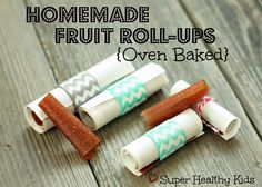 Homemade Fruit Roll-Ups.  We have a couple of tricks that will help you to make thick, delicious fruit roll-ups in your oven! from Super Healthy Kids #fruit #nosugaradded