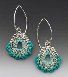 Drop Dangle Paisley Earrings in Sea Foam colored by octaviabloom, $120.00