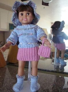 "Ladyfingers - AG doll - Sweater, Skirt & Purse in ""Blanket Rib Stitch"", Hat & Purse"