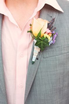 Bright and beachy boutonniere | Photography: Darling Juliet Photography - darlingjuliet.com  Read More: http://www.stylemepretty.com/little-black-book-blog/2014/04/24/diy-pastel-islamorada-wedding/