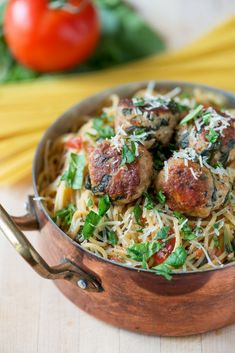 One Pot Spinach and Turkey Meatball Pasta