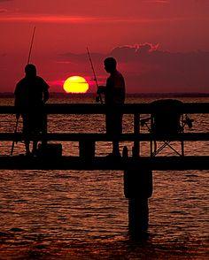 Sunset Fishing on Fairhope Pier, Alabama
