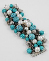 Multi row turquoise and charm bracelet #sylink