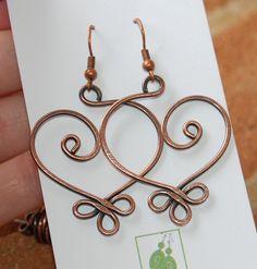 Copper earrings, Large, Celtic Heart, Wire jewelry