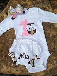 1st birthday owl onesie matching diaper cover by sewsosweetdesigns, $40.00-Ahh will match her Birthday theme:)