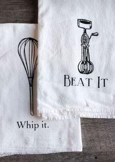 Whip it - Beat it // kitchen tea towel set