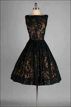 Lacy & Elegant 1950s Cocktail Dress~ A  Jack Stern Originals' gold acetate lining with sheer black lace overlay; full, pleated skirt