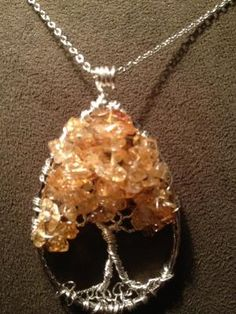 Citrine Teardrop Tree of Life Hand Wire Wrapped Pendant