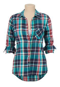 One Pocket high-low Plaid button down Shirt