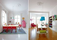 Simple, Colorful Dining Rooms