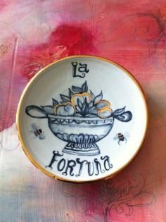 Small porcelain plate handmade and hand painted by Palm by PalmMG, $45.00