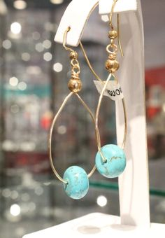 Turquoise earrings on gold wires