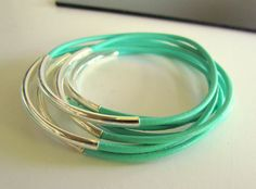 7 MINT GREEN LEATHER BANGLES Silver Beads by PapillonDaze on Etsy,SALE 23.00
