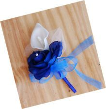 Royal Blue Calla Lily Silk Flower Corsage Wedding Bridal Prom Quinceanera Party