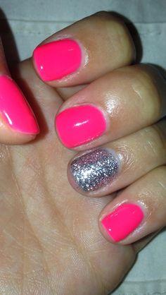 Neon Pink with a Silver accent nail. Love Shellac nail polish, perfect